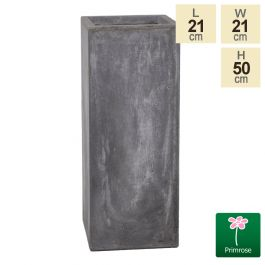 50cm Fibrecotta Cement Finish Tall Cube Planter
