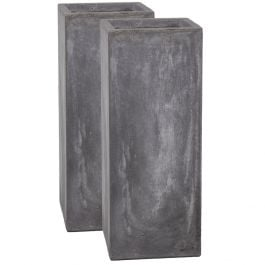50cm Fibrecotta Cement Finish Tall Cube Planter - Set of 2