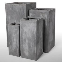 Cement Finish Fibrecotta Tall Cube Planter - Mixed Set of 4 - H50/60/70/80cm