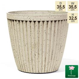 35.5cm Round Patterned Pigeon White Planter