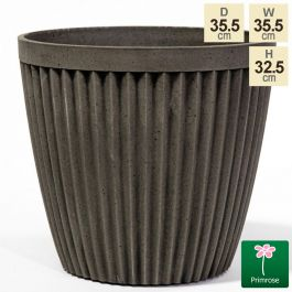 35.5cm Round Patterned Pigeon Grey Planter