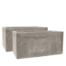 60cm Fibrecotta Cement Finish Trough Planters - Set of 2