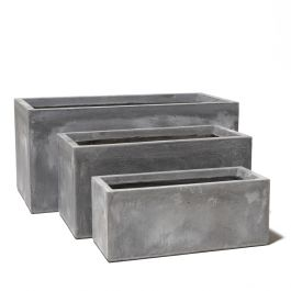 Cement Finish Fibrecotta Trough Planters - Set of 3 - L50/L60/L80cm