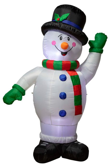 Large 2.4m Inflatable Snowman with Top Hat Christmas Decoration
