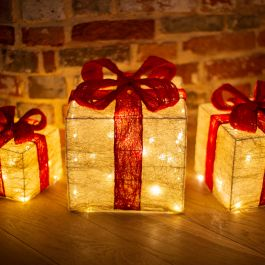 Set of 3 LED Light Up Christmas Gift Boxes in Gold