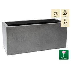 75cm Trough Zinc Silver & Black Textured Dipped Galvanised Planter