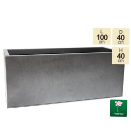 100cm Trough Zinc Silver & Black Textured Dipped Galvanised Planter