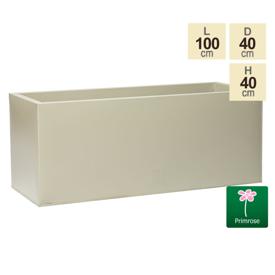 100cm Trough Zinc Ivory Textured Dipped Galvanised Planter