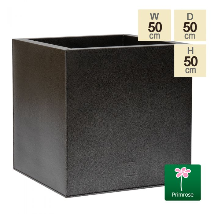50cm Cube Zinc Silver & Black Textured Dipped Galvanised Planter