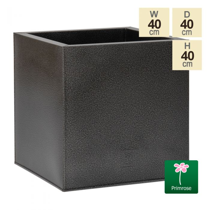 40cm Cube Zinc Silver & Black Textured Dipped Galvanised Planter