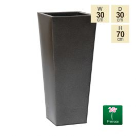 70cm Zinc Galvanised Textured Powder Coated Silver Flared Square Planter
