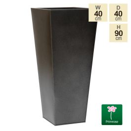90cm Flared Square Zinc Silver & Black Textured Dipped Galvanised Planter