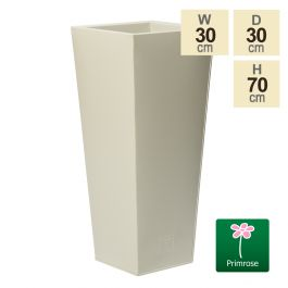 70cm Flared Square Zinc Ivory Textured Dipped Galvanised Planter