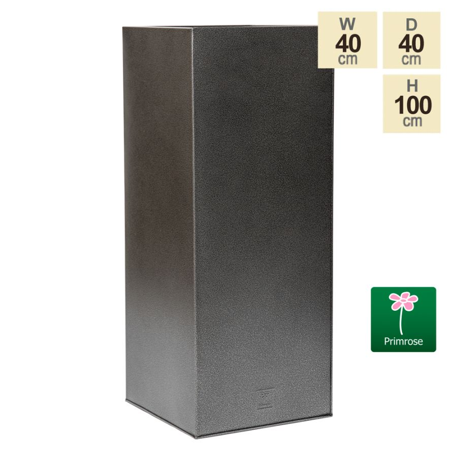 100cm Tall Cube Zinc Silver & Black Textured Dipped Galvanised Planter