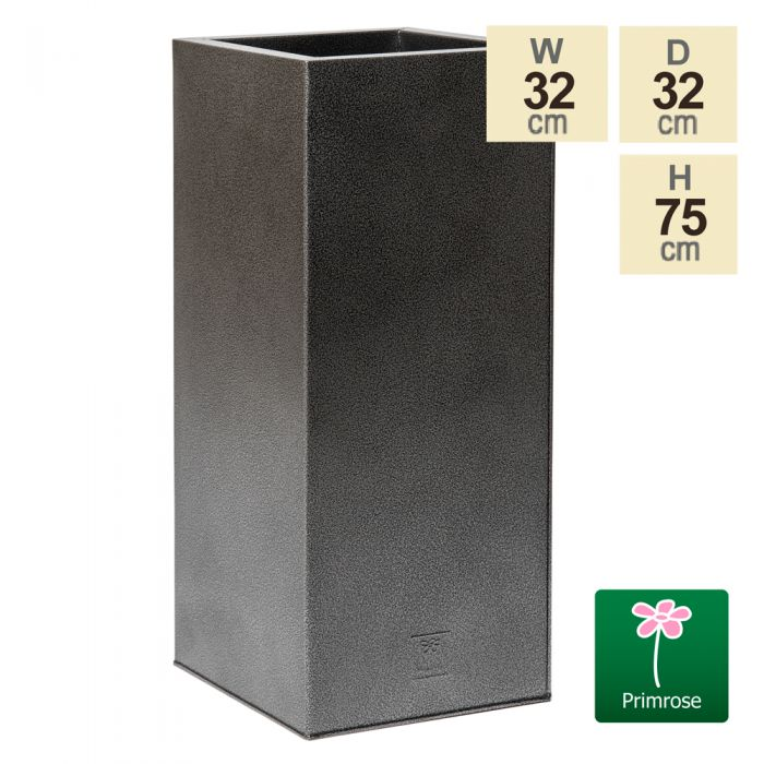 75cm Tall Cube Zinc Silver & Black Textured Dipped Galvanised Planter