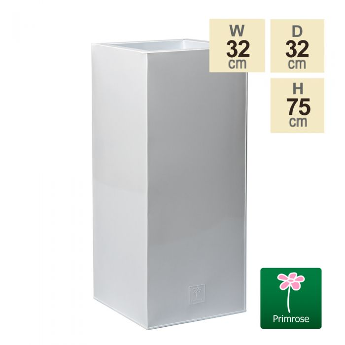 75cm Zinc Galvanised Powder Coated White Gloss Tall Cube Planter