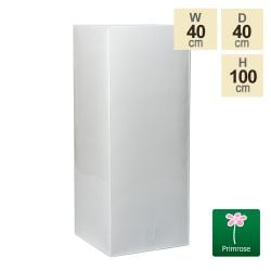 100cm Zinc Galvanised Powder Coated White Gloss Tall Cube Planter