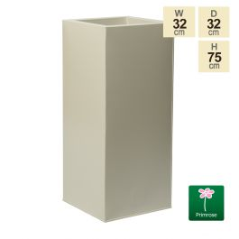 75cm Tall Cube Zinc Ivory Textured Dipped Galvanised Planter