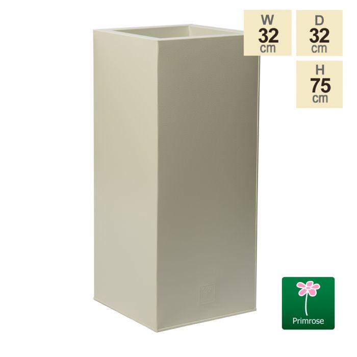 75cm Zinc Galvanised Textured Powder Coated Clotted Cream Tall Cube Planter