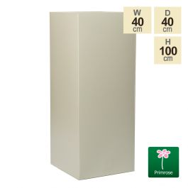 100cm Tall Cube Zinc Ivory Textured Dipped Galvanised Planter