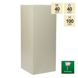 100cm Zinc Galvanised Textured Powder Coated Clotted Cream Tall Cube Planter
