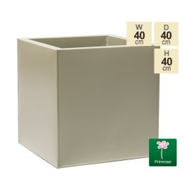 40cm Cube Zinc Ivory Textured Dipped Galvanised Planter