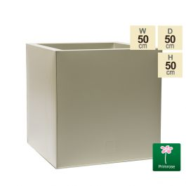 50cm Cube Zinc Ivory Textured Dipped Galvanised Planter