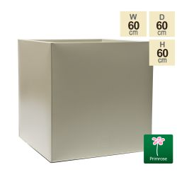 60cm Cube Zinc Ivory Textured Dipped Galvanised Planter