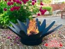 100cm Fold Away Steel Sunflower Fire Pit by La Fiesta