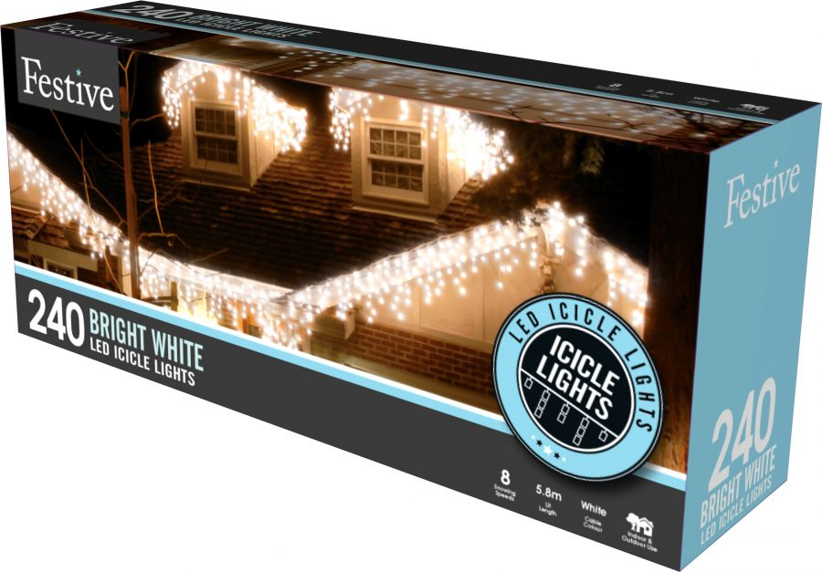 240 White LED Snowing Icicle Fairy Lights with Timer Function