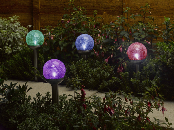 Pack of 4 Solar Powered Rainbow Crackle Globe Lights by Smart Solar
