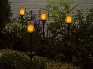 Smart Solar Amber Candle Stake Light (2 Pack)