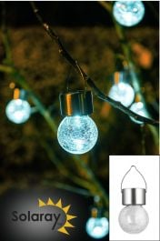 Set of 9 Solaray Stainless Steel Hanging Crackle Globe Lights by Solaray™