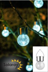 Set of 3 Stainless Steel Hanging Crackle Globe Solar Lights by Solaray