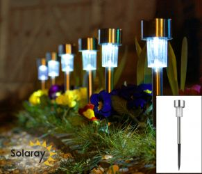Set of 6 Stainless Steel Solar Border Lights by Solaray