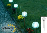 Set of 6 Solaray Stainless Steel Crackle Globe Border Lights