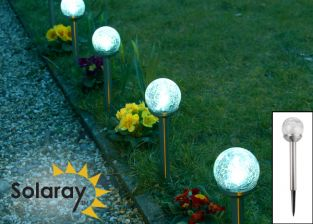 Set of 4 Crackle Globe Solar Border Lights - Stainless Steel  - by Solaray™