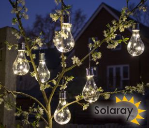 Pack of 6 Hanging Solar Bulb Garden Lights by Solaray