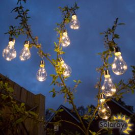 Pack of 9 Hanging Solar Bulb Garden Lights by Solaray