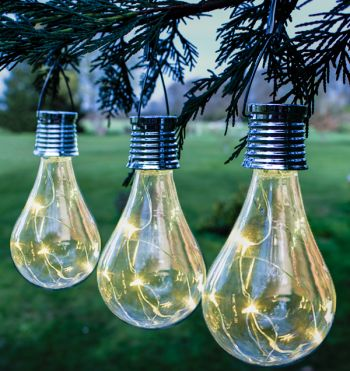 Decorative Hanging Solar Bulb Garden Lights - Pack of 3 - by Solaray™