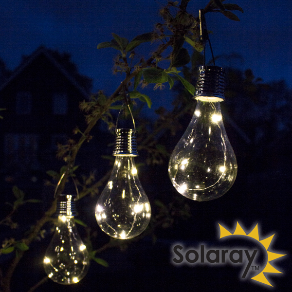 Pack of 3 Solar Powered Decorative Hanging Bulb Garden Lights by Solaray