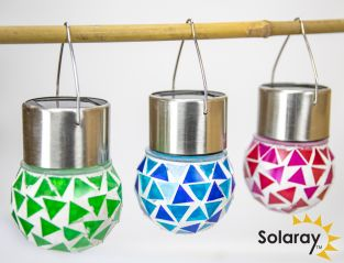 Set of 3 Solaray Stainless Steel Hanging Mosaic Globe Lights in Blue Green Red by Solaray™