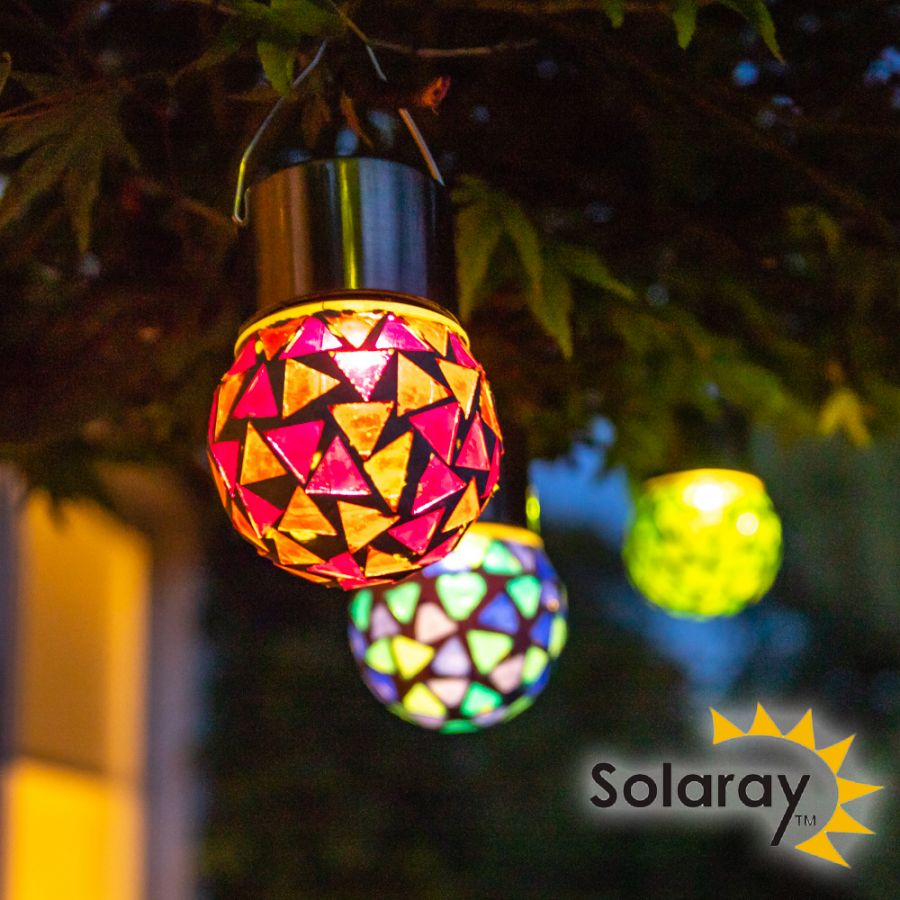 Set of 9 Solaray Stainless Steel Hanging Mosaic Globe Lights in Blue Green Red by Solaray™