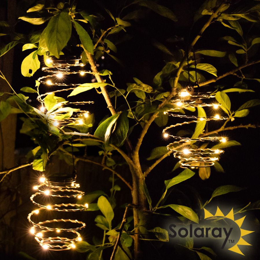 Set of 9 Solar Spiral Lantern LED Lights by Solaray