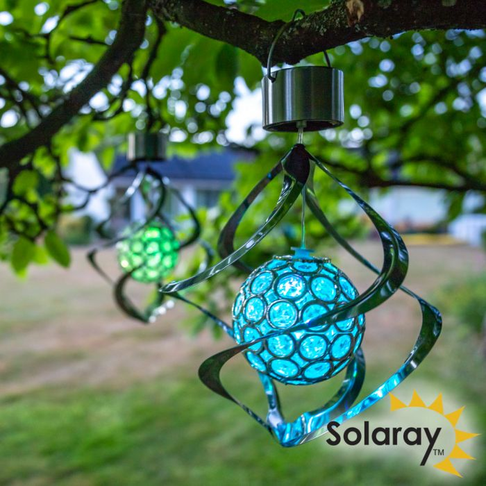 Set of 3 Hanging Solar Wind Spinner Colour Changing Lights by Solaray