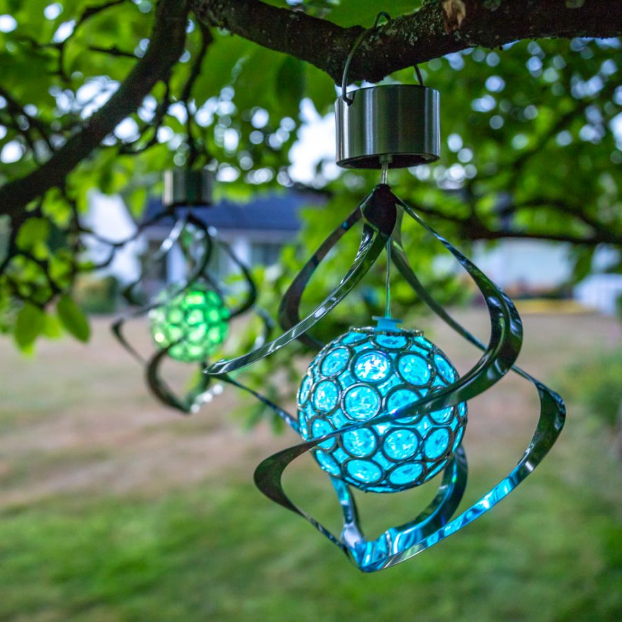 Hanging Solar Wind Spinner Colour Changing Light by Solaray