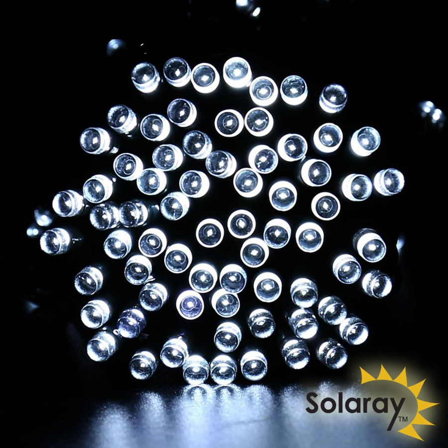 5m 30 White LED Solar Fairy String Lights by Solaray