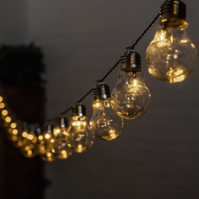 6.35m 30 Solar Powered Bulb LED String Lights by Solaray