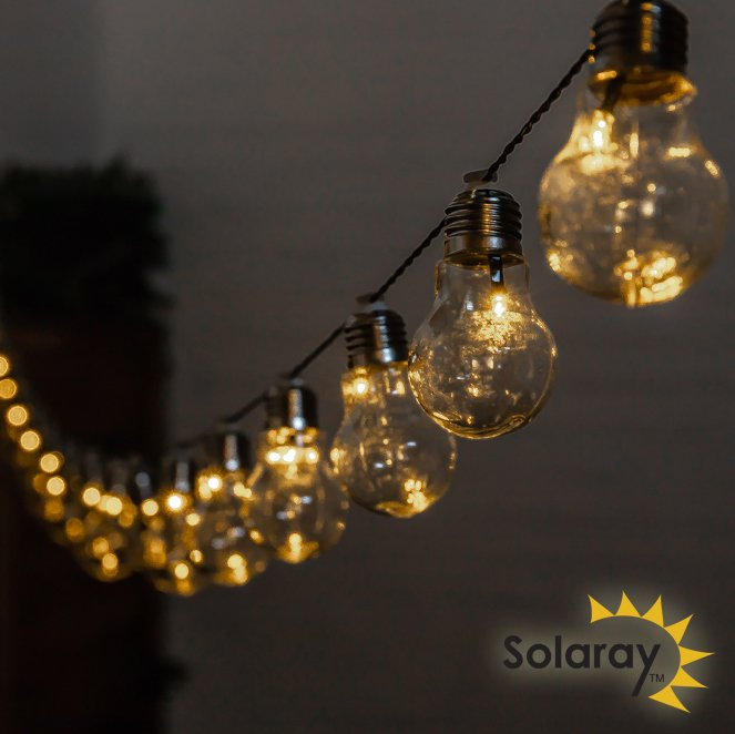 2 Pack (6.35m) 30 Solar Bulbs LED String Lights by Solaray