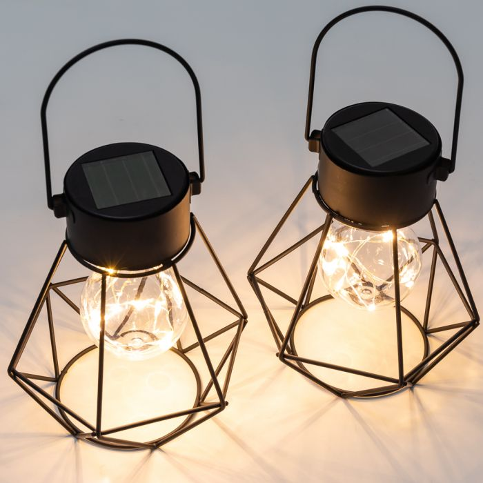Set Of 2 16.5cm Solar Metal Lanterns by Solaray